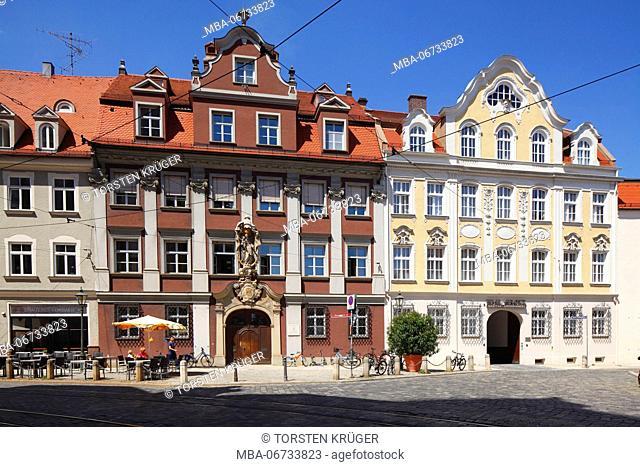 Historical house facade, Frauentorstrasse corner Inneres Pfarrgässchen, Old Town, Augsburg, Swabian, Bavaria, Germany, Europe
