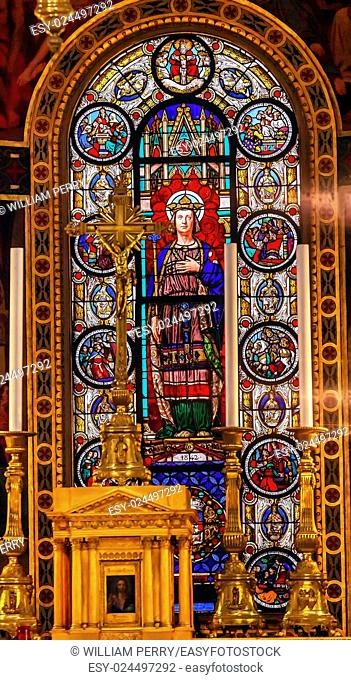 Altar Crucifix King Louis 9th Stained Glass Basilica Saint Louis En L'ile Church Paris France. Saint Louis En L'ile church built in Notre Dame was built in 1726...