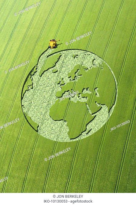Globe crop circle in green field