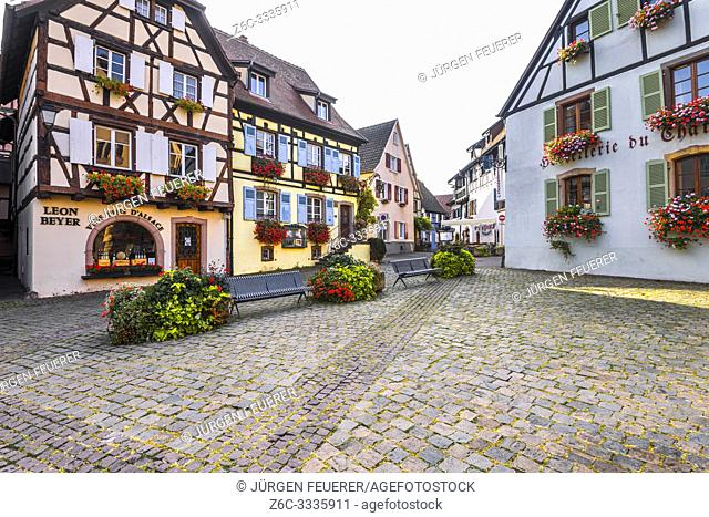old village Eguisheim, Alsace, France, flowery timbered houses