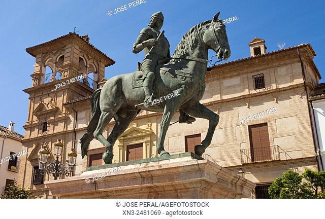 Plaza del Coso Viejo, Coso Viejo square, Equestrian statue of Fernando I, Ferdinand I, King of Aragon, Antequera, Andalusia, Spain, Europe