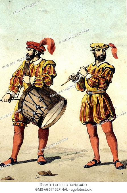 A color lithograph depicting a drummer and a flautist, they are wearing their Spanish military uniforms that are yellow and red