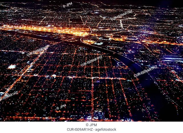 Aerial view of Brooklyn by night, New York, USA