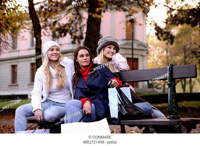 women, outdoor, watching, bench, urban, park, youn