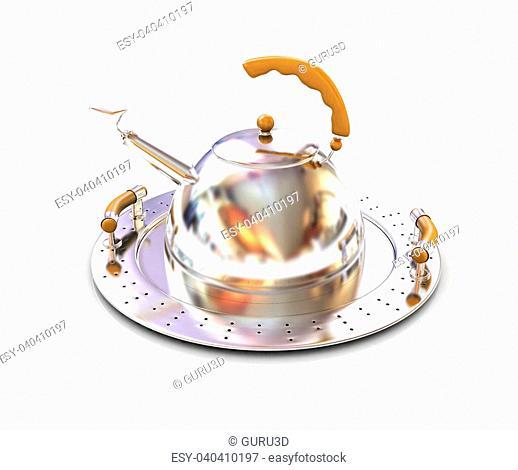 Chrome teapot on platter on a white background