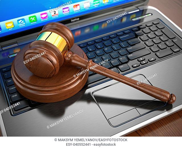 Online internet auction. Gavel on laptop. 3d