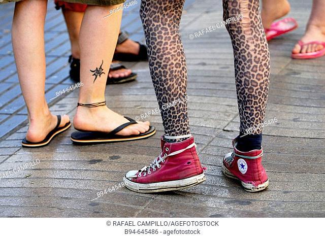 Feet. Las Ramblas. Barcelona. Catalonia, Spain