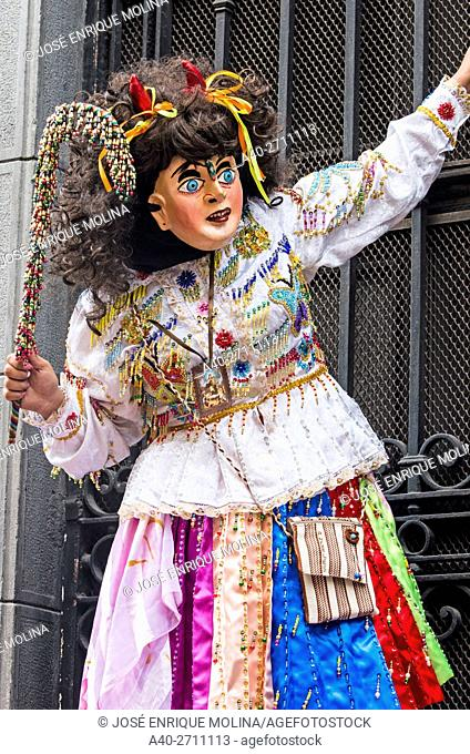 Procession of the Virgin of Carmen de Paucartambo (Mamacha Carmen) in Lima.Perú