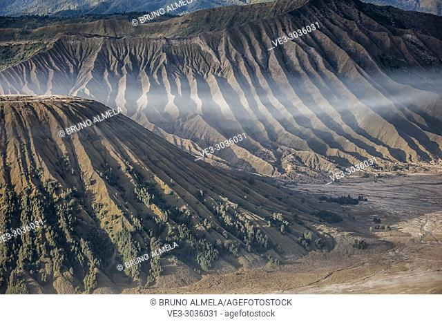 View of Batok and Widodaren Volcanoes slopes in Bromo Tengger Semeru National Park (East Java, Indonesia)
