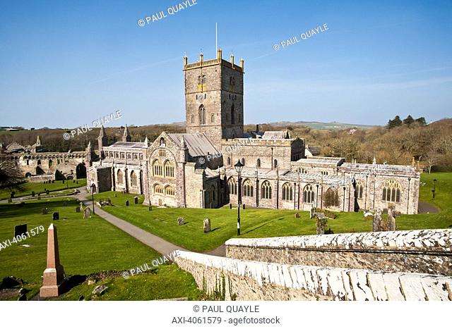 St. David's Cathedral, built in its present form in 1181, with Bishops Palace in background; St. David, Pembrokeshire, Wales