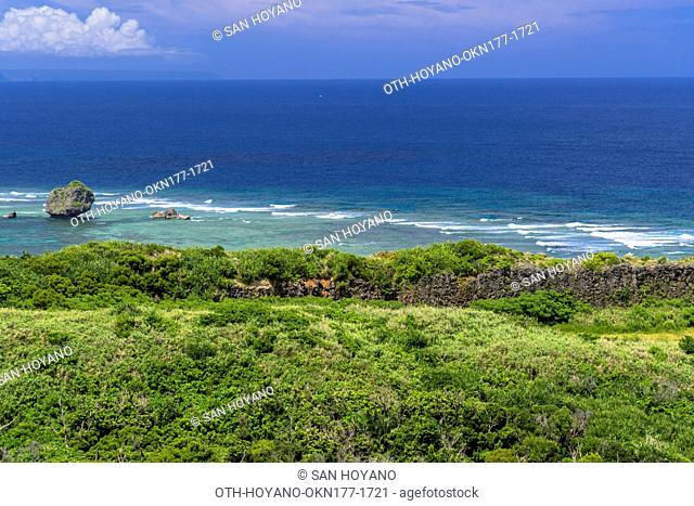 Kahubanta (Cape of happiness) cliff top view of the sea in Miyagi Island, Okinawa, Japan