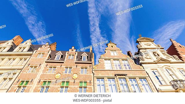 Belgium, Ghent, old town, Korenlei, row of historical houses