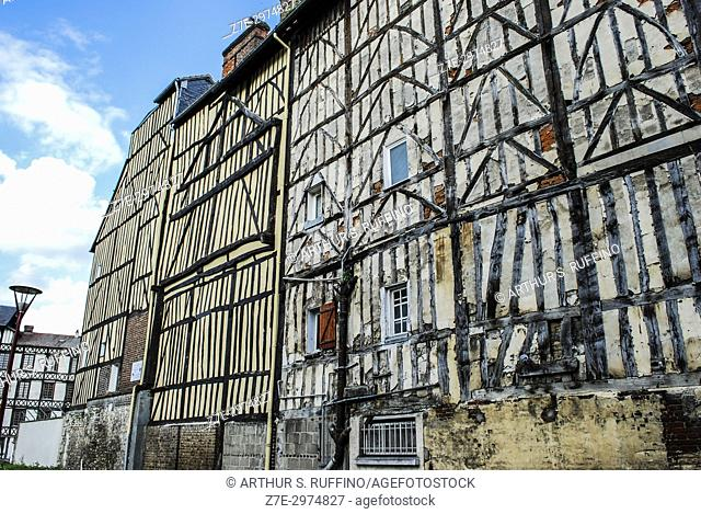 Architecture of Elbeuf. Elbeuf (Elbeuf-sur-Seine), town on the banks of the Seine River, Seine-Maritime Department, Normandy, France, Europe