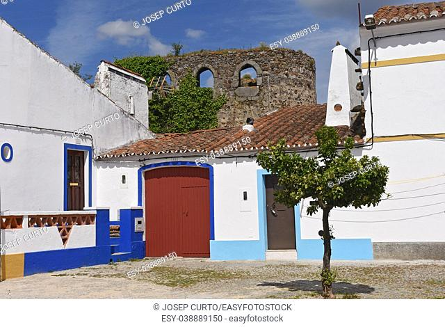 walls and houses in the village of Redondo, Alentejo region, Portugal