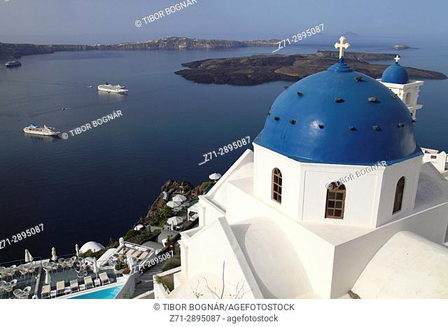 Greece, Cyclades, Santorini, Imerovigli, Anastasi Church, cruise ships