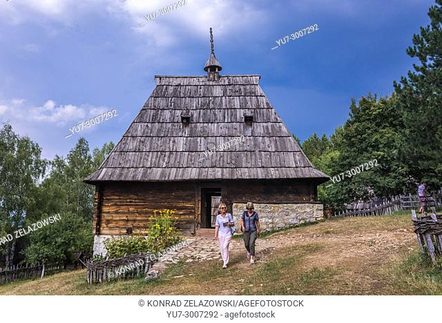 Traditional wooden cottage from 1882 in Ethnographic heritage park called Old Village Museum in Sirogojno village, Zlatibor region, Serbia