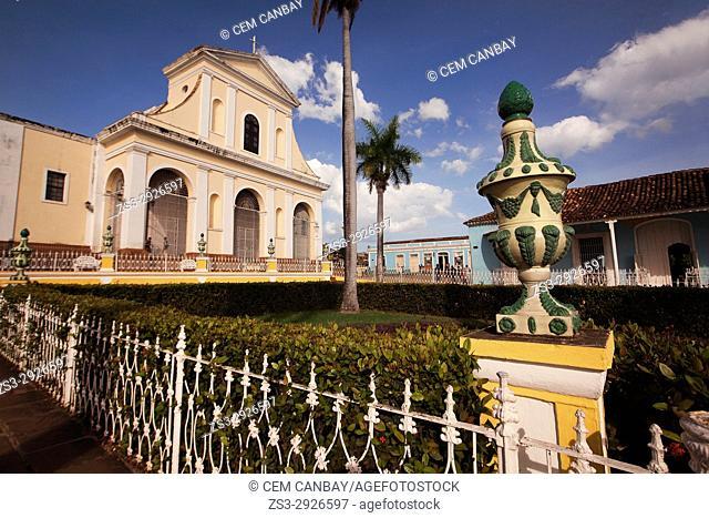 View to the Iglesia de Santisima Trinidad Church from the park at the Main Square-Plaza Mayor, Trinidad, Sancti Spiritu Province, Cuba, West Indies