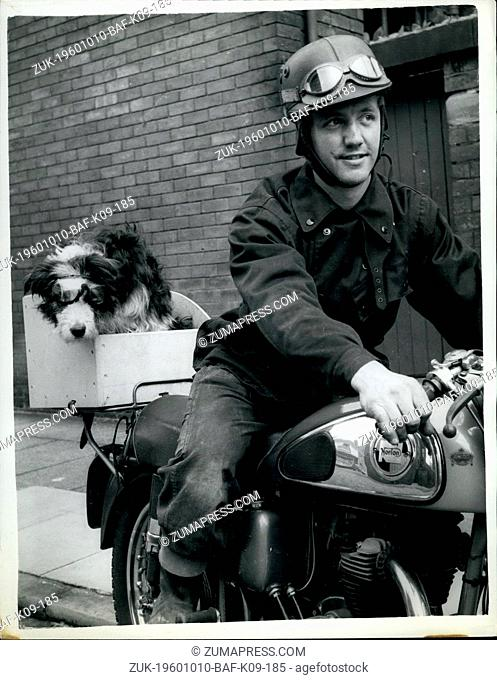 Oct. 10, 1960 - and 'Rover' goes too.: Every time thirty one year old Raymond Peet of Preston- goes for a ride on his motor cycle - he has to take his pet dog -...