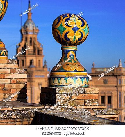 ceramic decoration Spain Square, Sevilla, Andalucia, Spain, Europe