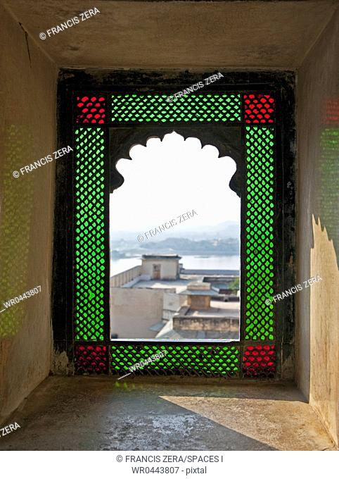 Open Stained Glass Window in City Palace