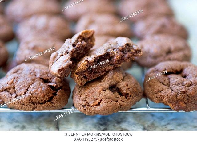 Chocolate cookies on a cooling rack, the one on top is broken in half