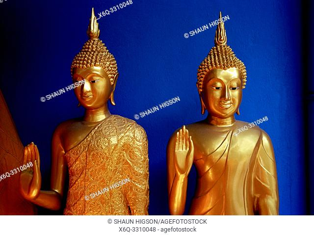 Buddha statues in Bamrung Muang Road in Bangkok in Thailand in Southeast Asia Far East. Bamrung Muang Road is a place in Bangkok where the statues of the Buddha...