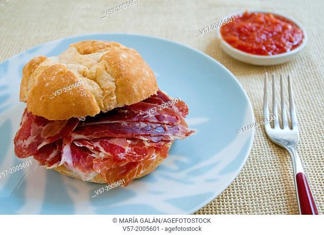 Spanish tapa: Iberian ham sandwich