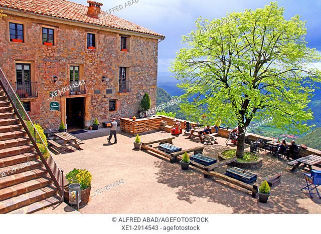 Terrace of the Sanctuary of Santa Maria de Montgrony, Bergueda, Catalonia, Spain