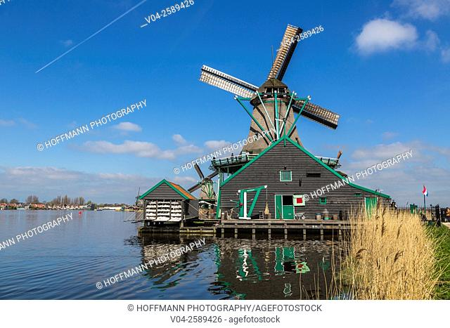 Historic windmill in the historic village of Zaanse Schans, The Netherlands, Europe