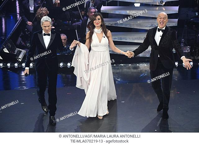 Claudio Baglioni, Virginia Raffaele, Claudio Bisio during Sanremo third evening. 69th Festival of the Italian Song. Sanremo, Italy 07 Febr 2019