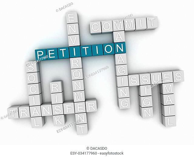 3d image Petition word cloud concept