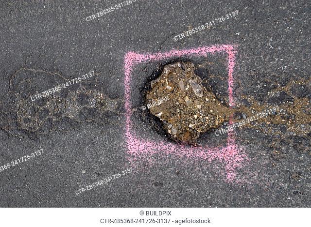 Pot hole, Ipswich, Suffolk, UK