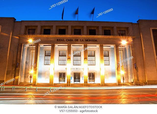 Casa de la Moneda Museum, night view. Madrid, Spain