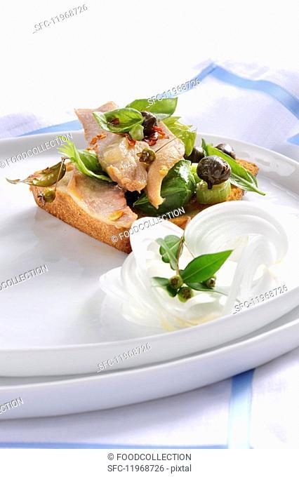 Ventresca di tonno con caponata (tuna fish belly with caponata, Italy)