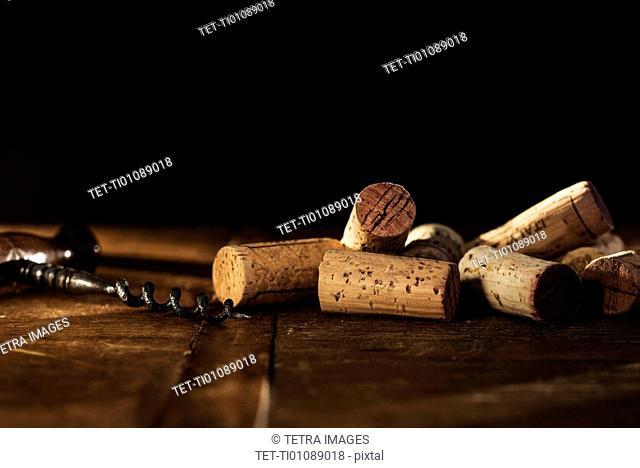 Corkscrew on table