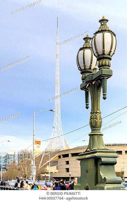 Arts Centre, Australia, Cast iron lamp post, Melbourne, Princes Bridge, Southbank, Victoria, Victorian Arts Centre, Yarra River, architect Sir Roy Grounds