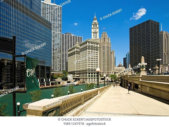 Chicago Riverwalk at Wabash Avenue  Trump Tower & Wrigley Buildings