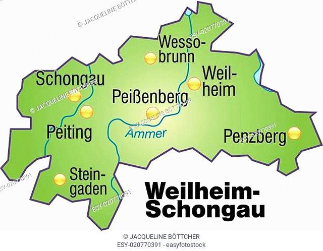 Karte von Weilheim-Schongau als Übersichtskarte in Grün