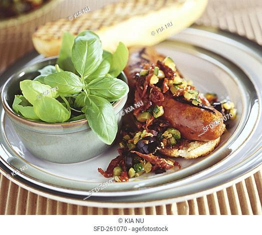 Salsiccia con salsa di verdure sausage with vegetable sauce