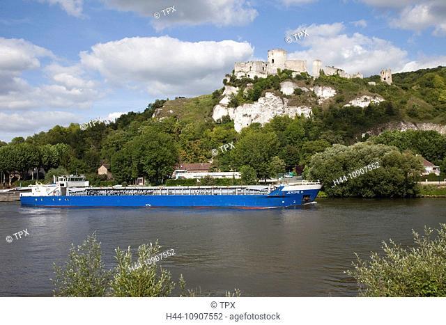 Europe, France, Les Andelys, Gaillard Castle, Chateau Gaillard, River Seine, Seine River, Rivers, Castle, Castles, Ship, Ships, Shipping, Tourism, Travel