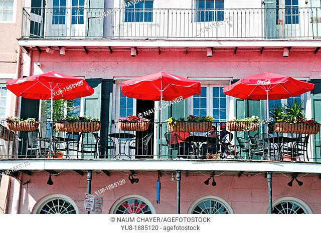Cafe with three red umbrellas, New Orleans, state of Louisiana, USA, North America