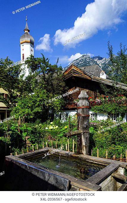 Polznkasparhaus on Mohrenplatz in Garmisch-Partenkirchen, Garmisch, Werdenfels, Bavaria, Upper Bavaria, Germany