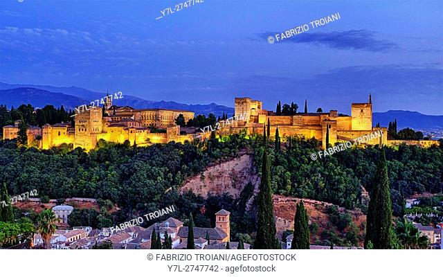 Panorama of the Alhambra from Mirador de San Nicolas, Granada, Spain