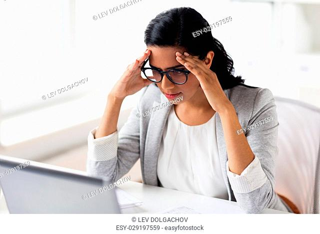 business, people, deadline and technology concept - stressed businesswoman with laptop computer at office