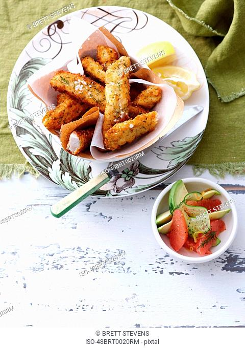 Plate of fried fish and lemon