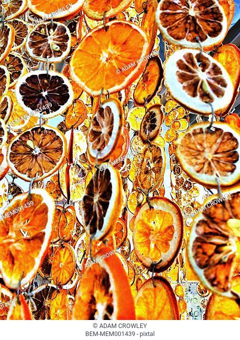 Dried fruit hanging in garlands