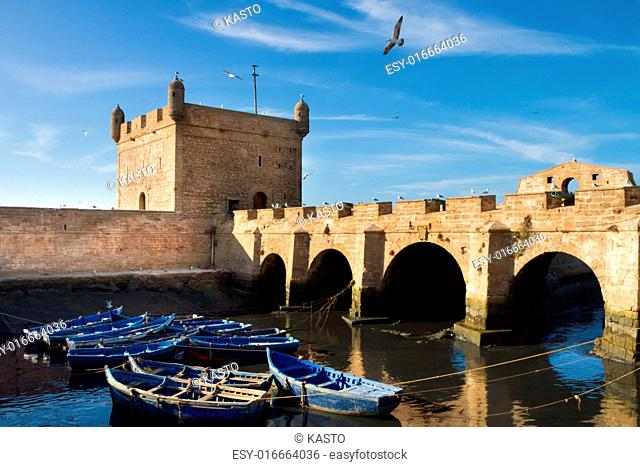 Fishermans boats in Essaouira, city in the western Morocco, on the Atlantic coast. It has also been known by its Portuguese name of Mogador