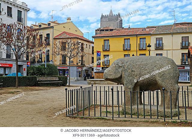 Verraco de las Cogotas in the Adolfo Suárez square. Ávila. Castilla y León. Spain