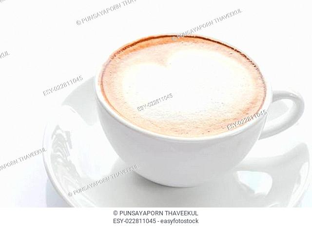 Hot cup of coffee latte isolated on white background