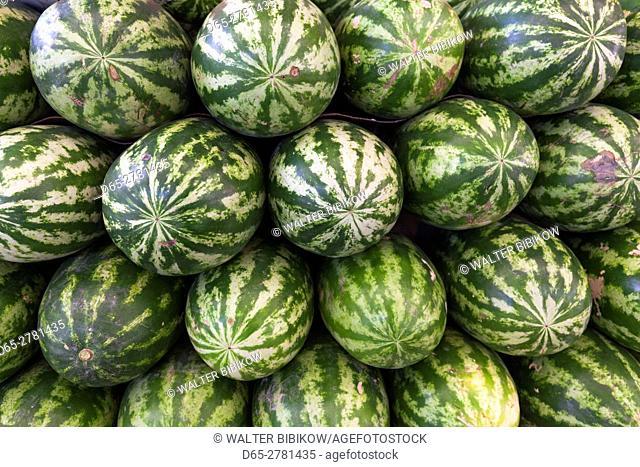 UAE, Dubai, Deira, Dubai Produce Market, watermelons